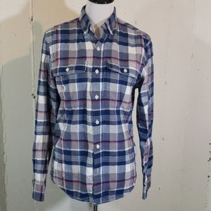 Old Navy S 100% cotton blue/white/red flannel